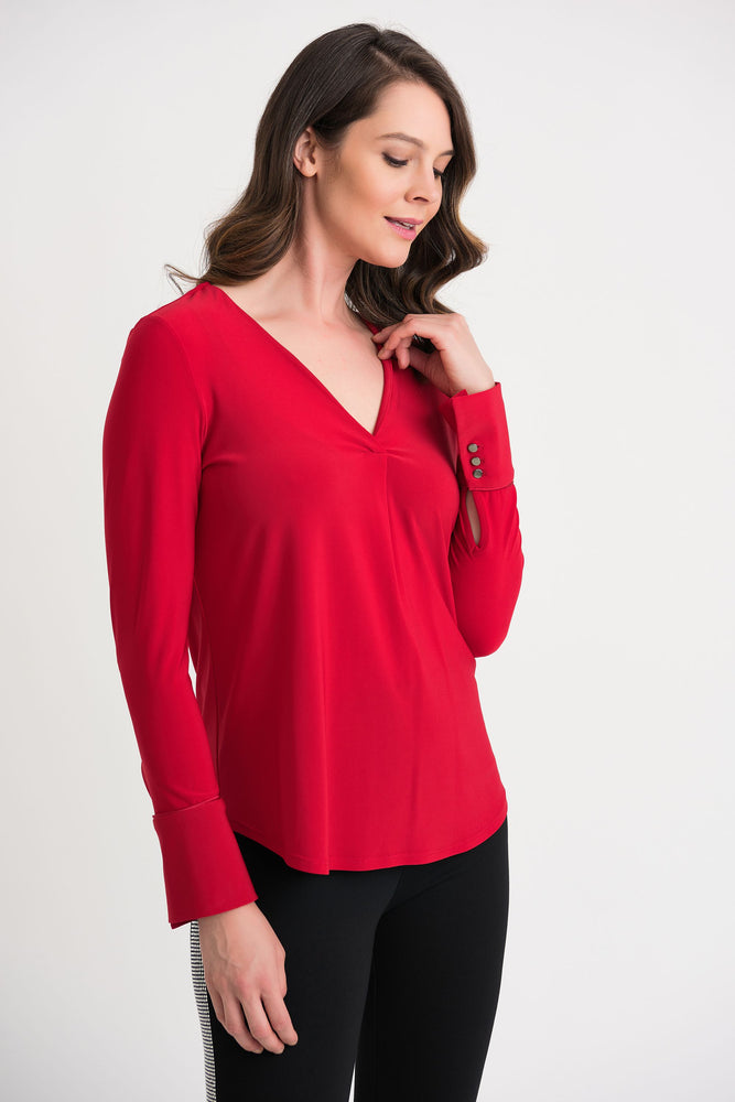 Joseph Ribkoff Style 204265 Lipstick Red Pleated Front Long Sleeve Top
