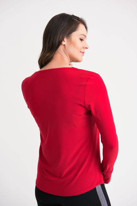 Joseph Ribkoff Lipstick Red Pleated Front Long Sleeve Top 204265 NEW