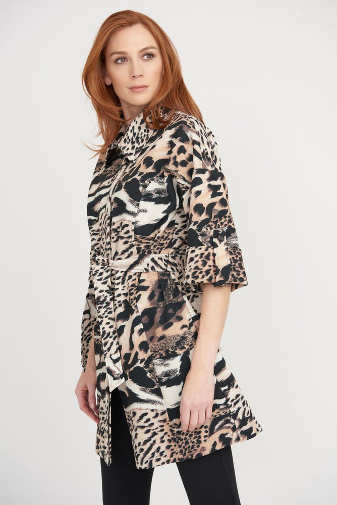 Joseph Ribkoff Style 203316 Multi Animal Print Belted Coat Jacket