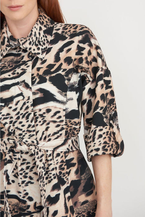 Joseph Ribkoff Multi Animal Print Belted Coat Jacket 203316 NEW