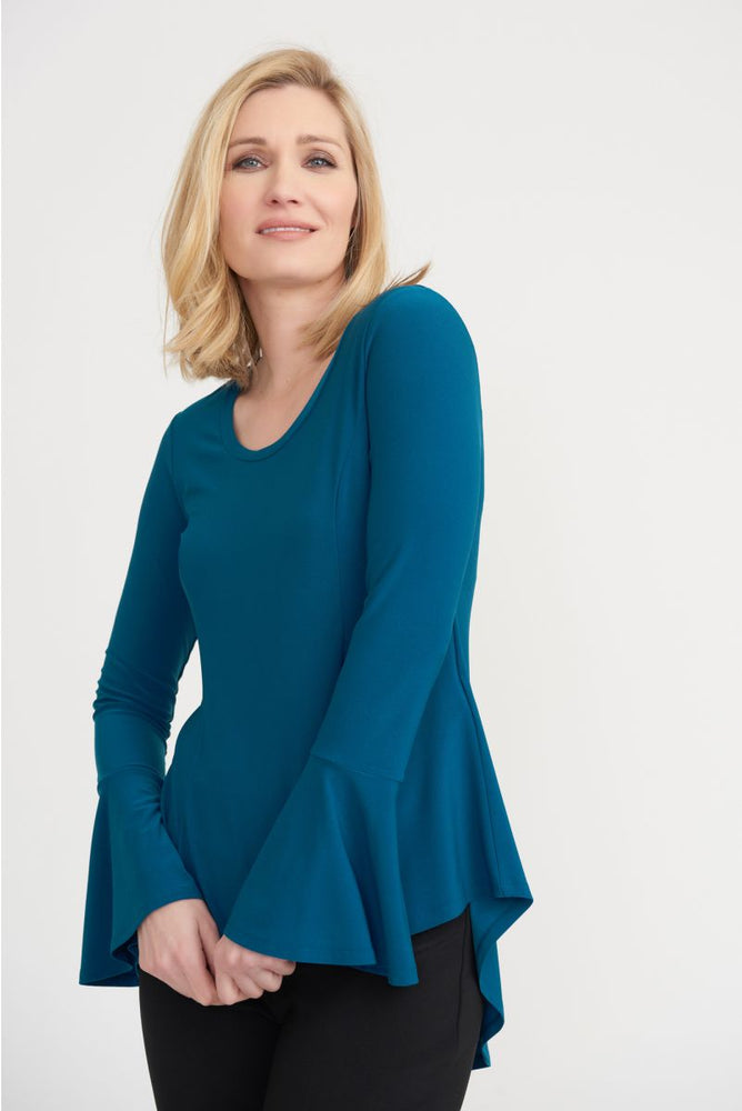 Joseph Ribkoff Style 203527 Peacock Round Neck Long Bell Sleeve High-Low Hem Top