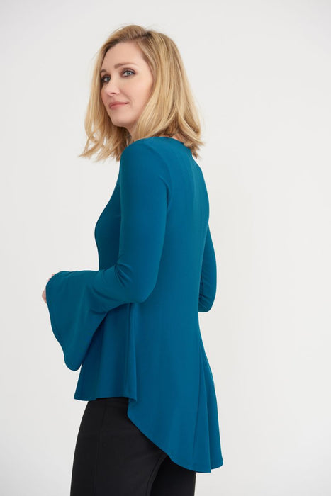 Joseph Ribkoff Peacock Round Neck Long Bell Sleeve High-Low Hem Top 203527 NEW