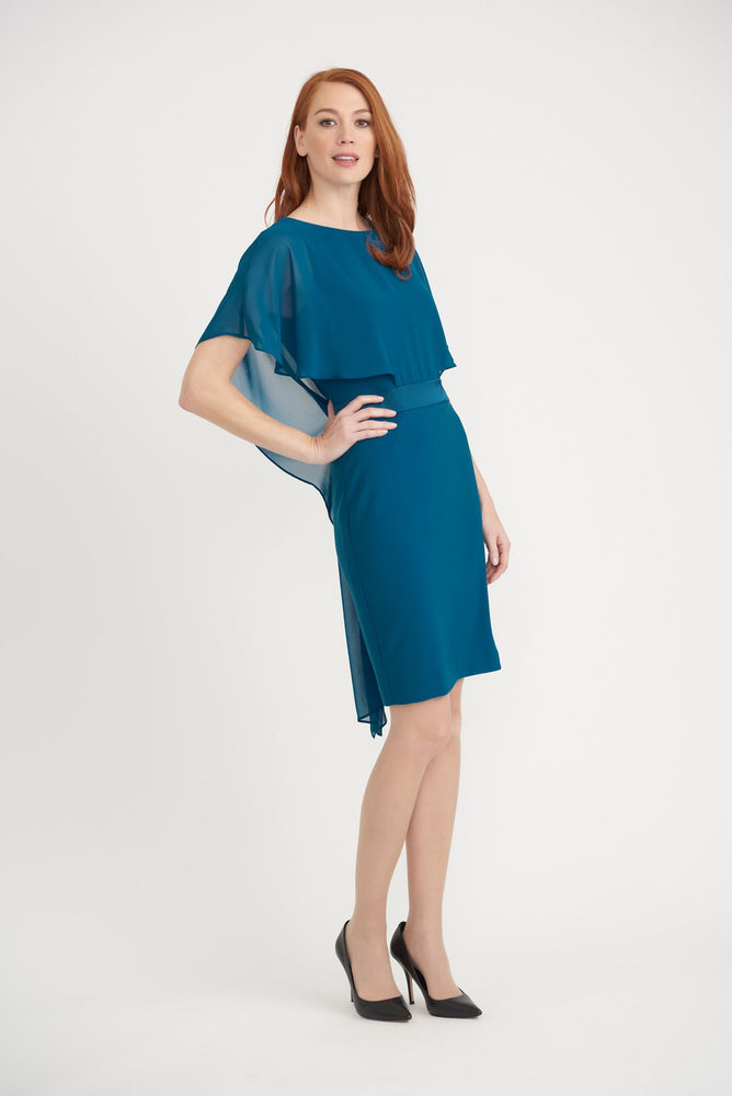 Joseph Ribkoff Style 203126 Peacock Round Neck Sheer Overlay Sheath Dress
