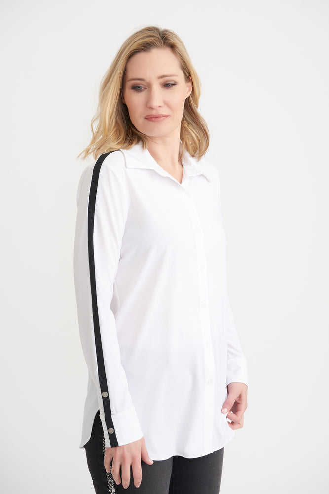 Joseph Ribkoff Style 203086 White/Black Striped Sleeves Button-Down Shirt