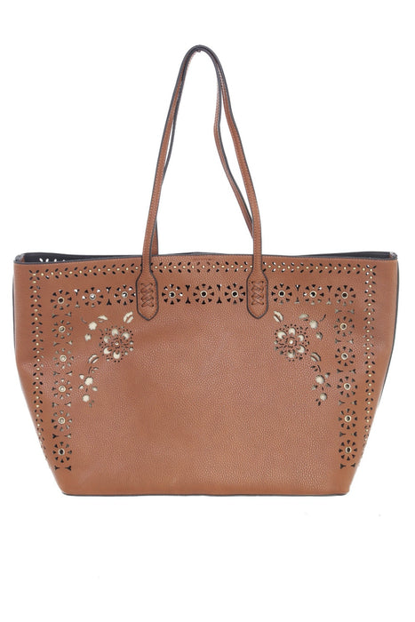 Joseph Ribkoff Style 201243 Cognac Perforated Faux Leather Tote Bag
