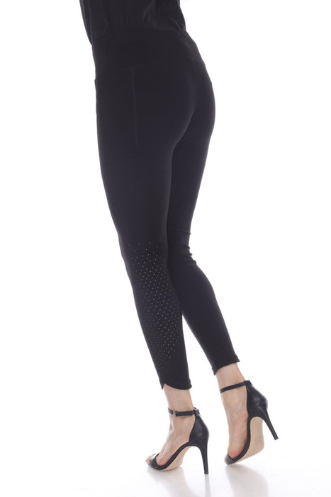 Joseph Ribkoff Black Perforated Slip-On Cropped Leggings 193099 NEW