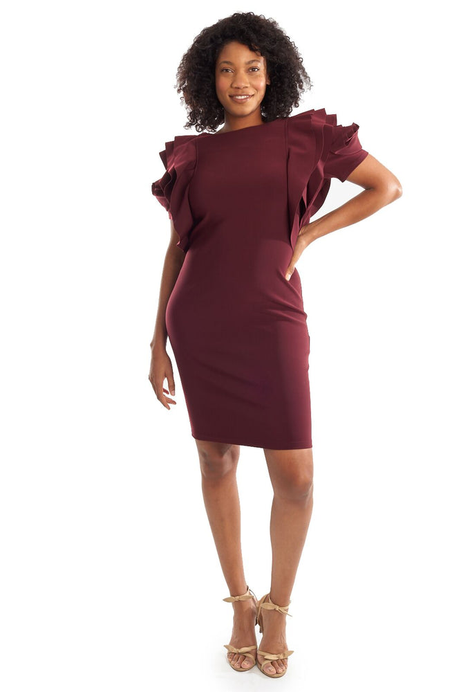Joseph Ribkoff Style 194007 Cabernet Ruffled Rose Cape Sleeve Sheath Dress
