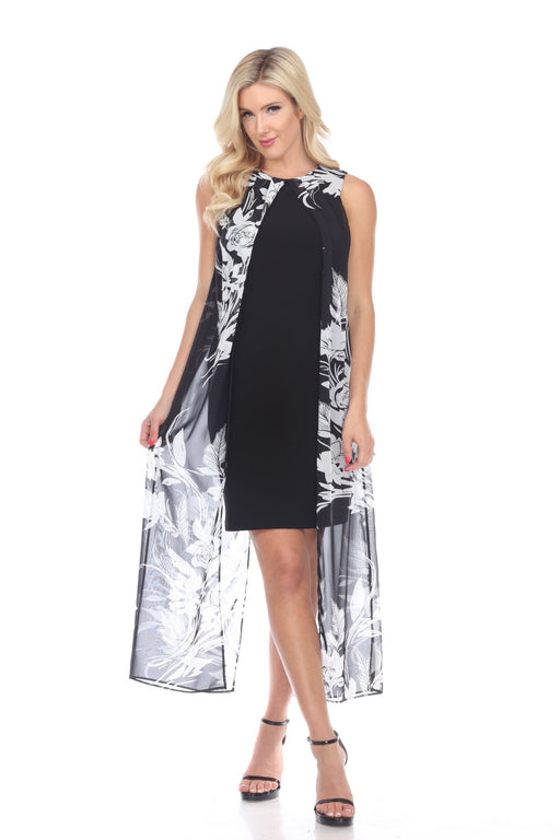 Joseph Ribkoff Style 193578 Black White Floral Chiffon Overlay Sleeveless Sheath Dress