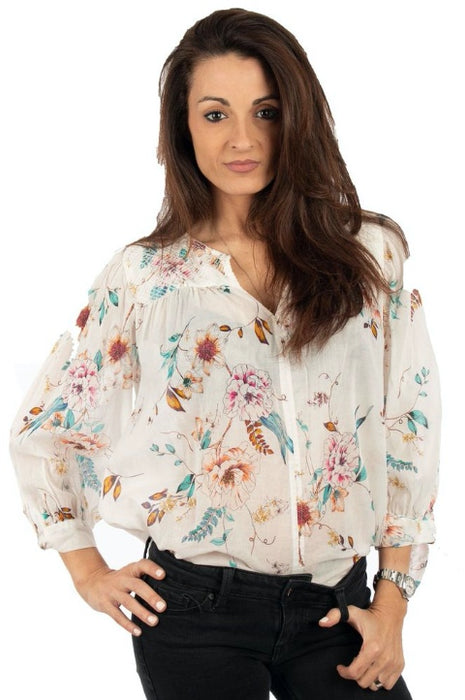 Johnny Was Sleeve Tie Floral Peasant Blouse Boho Chic W17919 NEW