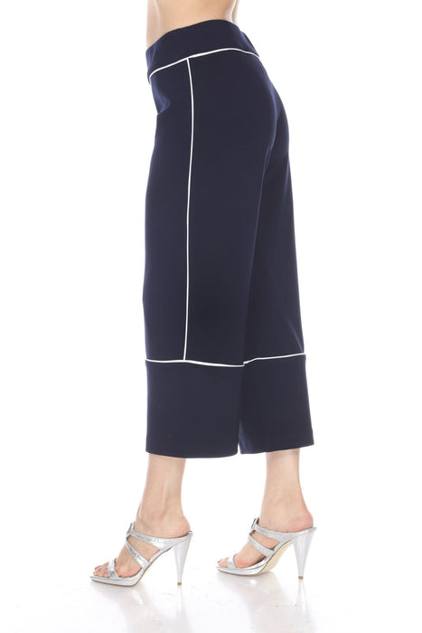 Joseph Ribkoff Midnight Blue/Vanilla Striped Piping Wide Leg Cropped Pants 193106 NEW