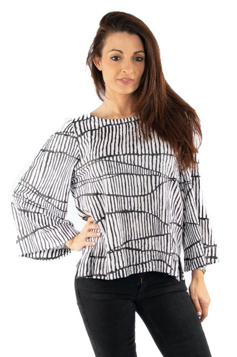 Joseph Ribkoff Style 193836 White Black Graphic Print Cropped Blouse