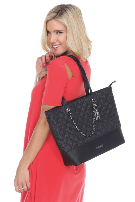 Joseph Ribkoff Style 194995 Black Gold Plaid Quilted Chain Link Detail Faux Leather Fabric Mix Tote Bag