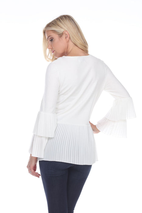 Joseph Ribkoff Vanilla Accordion Pleated Layered Long Sleeve Top 201036 NEW