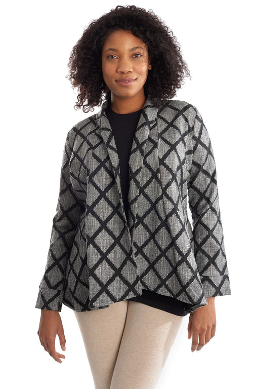 Joseph Ribkoff Black//Ivory Patchwork Pattern Long Sleeve Coat Jacket 194839 NEW