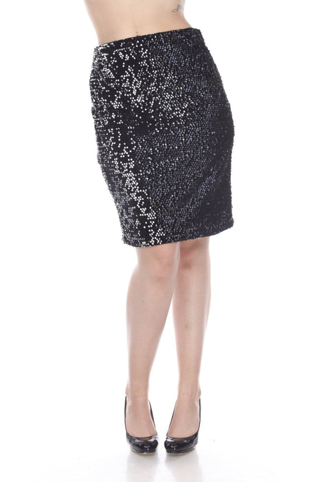 Joseph Ribkoff Black/Silver Two-Tone Sequined Slip-On Pencil Skirt 194547 NEW
