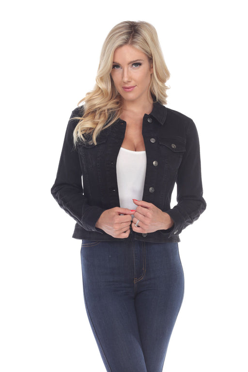 Joseph Ribkoff Style 193959 Black Striped Button-Down Cropped Denim Jacket