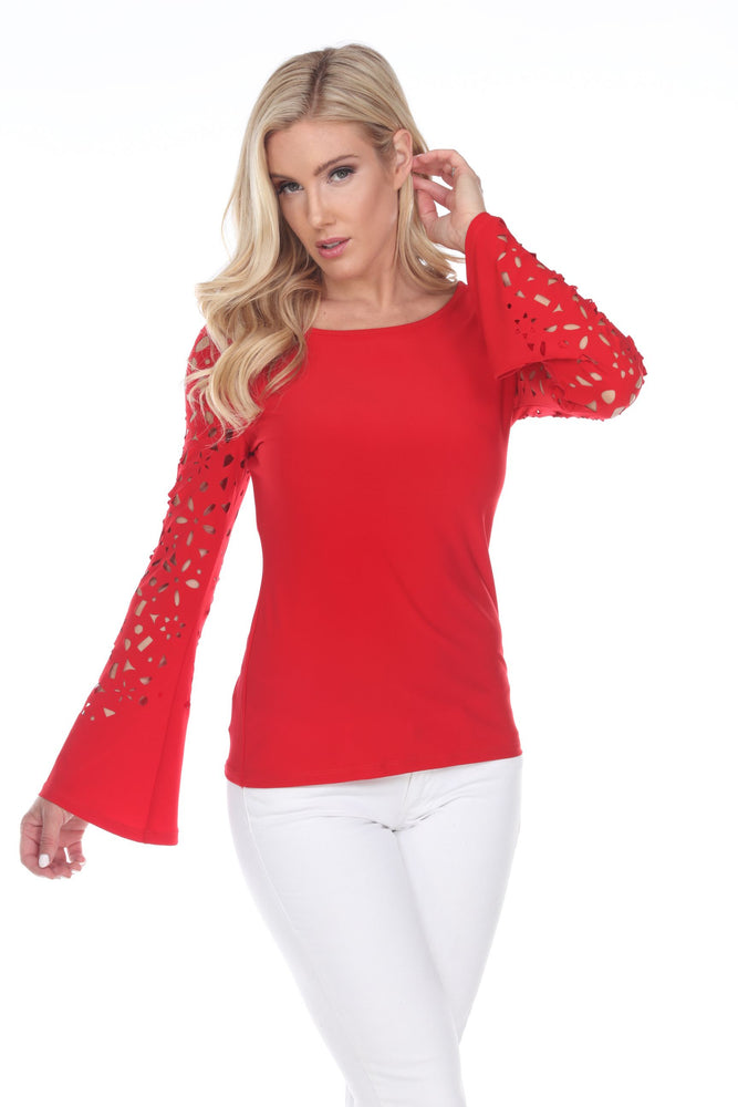 Joseph Ribkoff Style 202069 Lipstick Red Floral Cutout Flared Sleeve Top