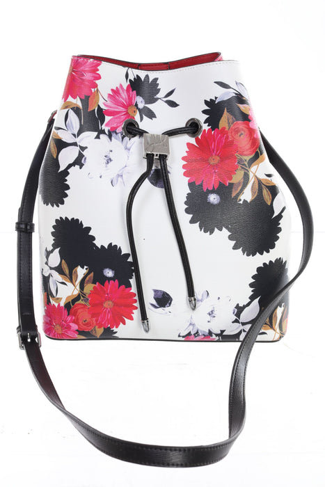 Joseph Ribkoff White/Multi Floral Print Faux Leather Bucket Bag 201392 NEW