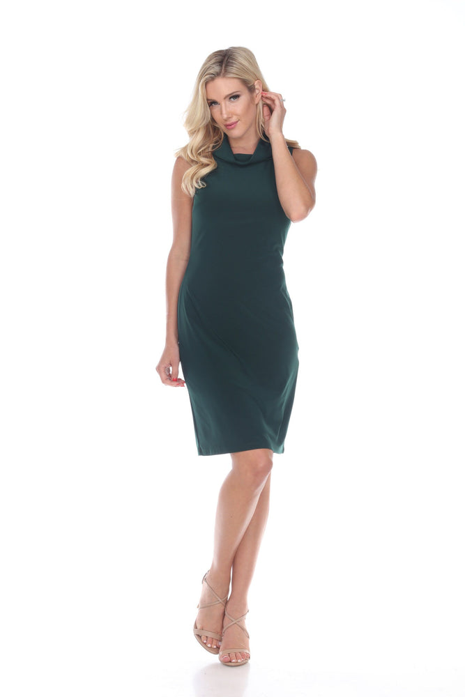 Joseph Ribkoff Style 193012 Pure Emerald Cowl Neck Sleeveless Sheath Dress