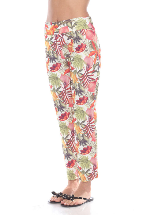 Joseph Ribkoff Multi Floral Print Straight Cut Cropped Pants 192690 NEW
