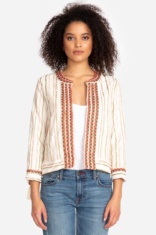 Johnny Was Style W44719 Maya Multicolor Striped Embroidered Cropped Jacket Boho Chic