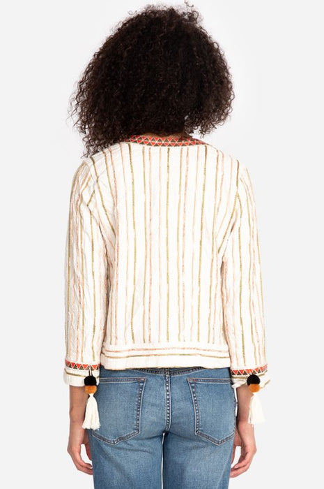 Johnny Was Maya Striped Embroidered Cropped Jacket Boho Chic W44719 NEW
