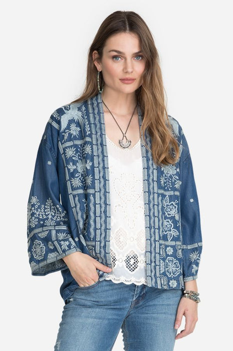 Johnny Was Style W48620 Denim Blue Alberte Embroidered Open Front Cropped Kimono