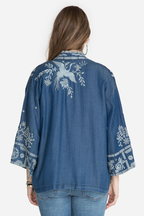 Johnny Was Workshop Alberte Embroidered Open Front Cropped Kimono W48620 NEW
