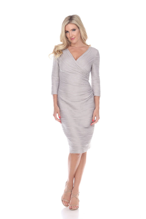 Joseph Ribkoff Style 184412 Beige Silver Textured 3/4 Sleeve Mock Wrap Cocktail Dress