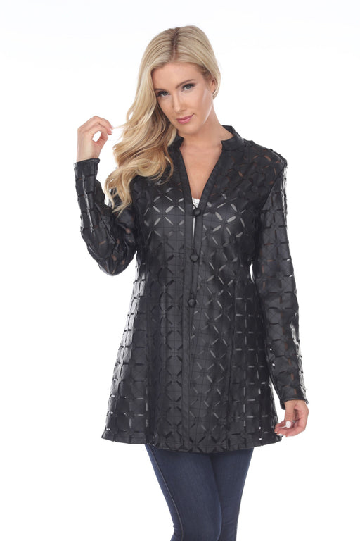 Joseph Ribkoff Style 161993 Black Faux Leather Perforated Long Sleeve Jacket