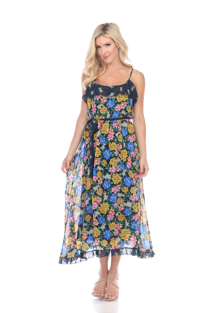 Jade by Johnny Was Style L31219 Rodas Midnight Blue Multicolor Floral Mixed Tier Midi Dress Boho Chic
