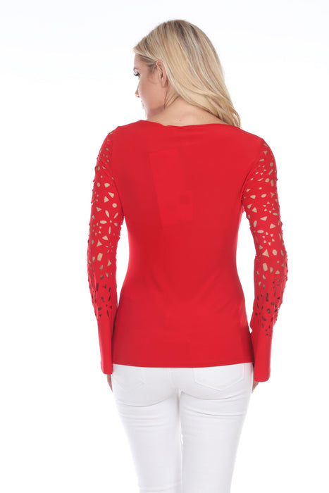 Joseph Ribkoff Lipstick Red Floral Cutout Flared Sleeve Top 202069 NEW