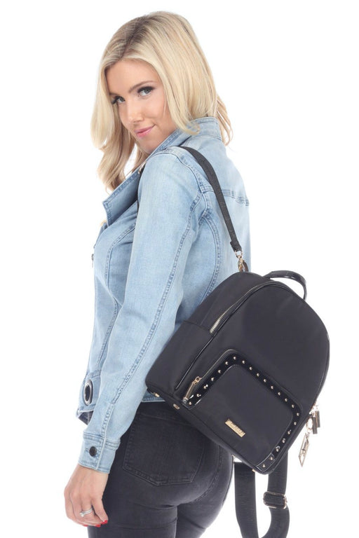 Joseph Ribkoff Style 194987 Black Studded Faux Leather Trim Backpack