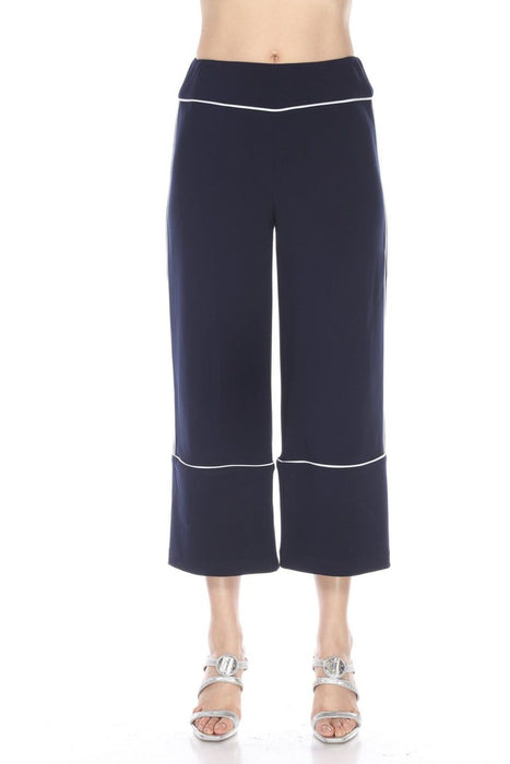 Joseph Ribkoff Midnight Style 193106 Blue/Vanilla Striped Piping Wide Leg Cropped Pants