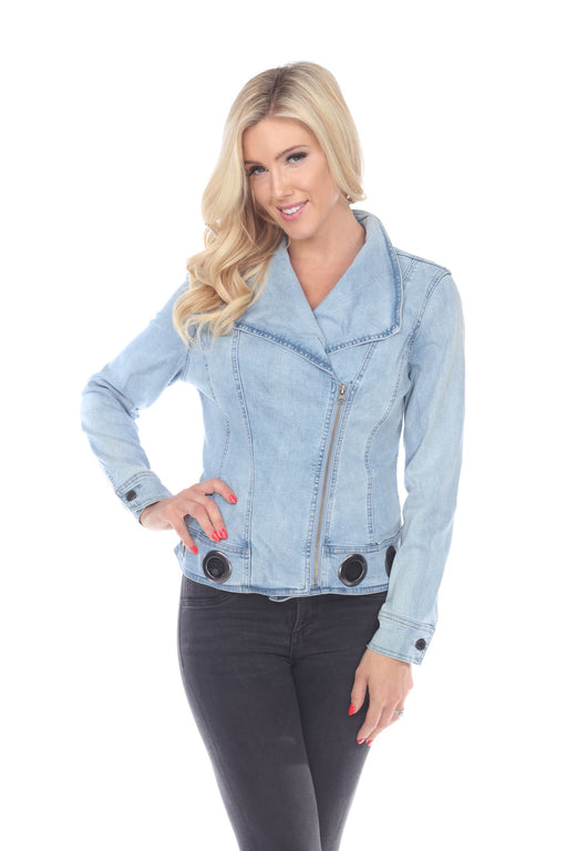 Joseph Ribkoff Style 193962 Light Denim Blue Grommet Accent Zip-Up Jacket