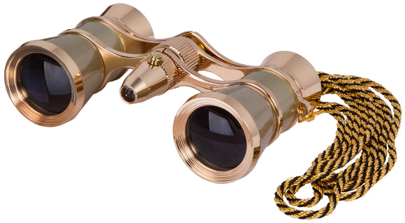 Magnification: 3x. Objective lens diameter: 25 mm. Accessories: LED light, chain. Color: gold with gold