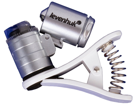Portable microscope with LED and UV lights. Magnification: 60x