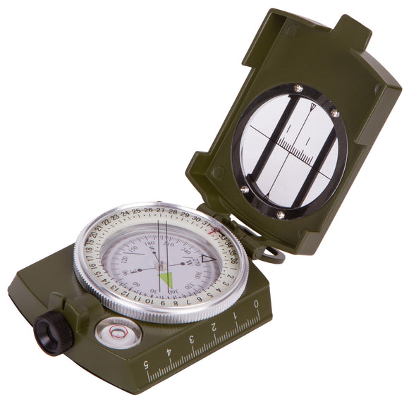 Liquid compass with a sighting slot, map scales, and bubble level