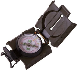 Compass with a floating dial scale, sighting slot and built-in illumination