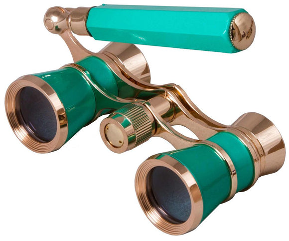 Opera glasses with a telescopic handle. Magnification: 3x. Objective lens diameter: 25 mm