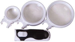Magnifiers with three interchangeable lenses and LED illumination. Magnification: 2.5/6/16x