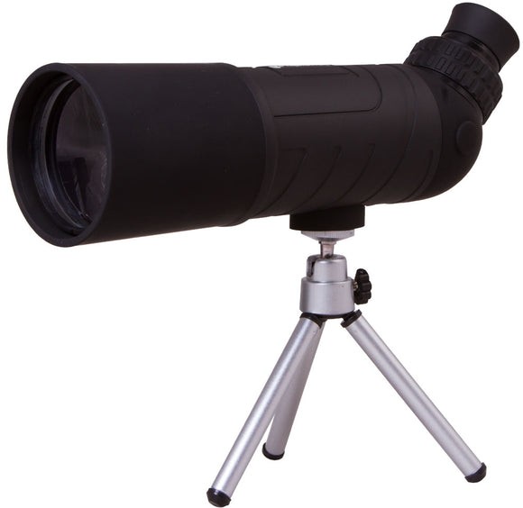 An angled eyepiece. Magnification: 10x. Objective lens diameter: 60 mm