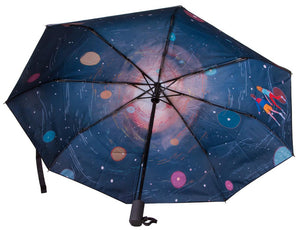 A compact automatic folding umbrella with an astronomy print. The dome size: 106.6 cm (47.7 in)