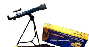 Achromatic refractor. Objective lens diameter: 50 mm. Focal length: 600 mm