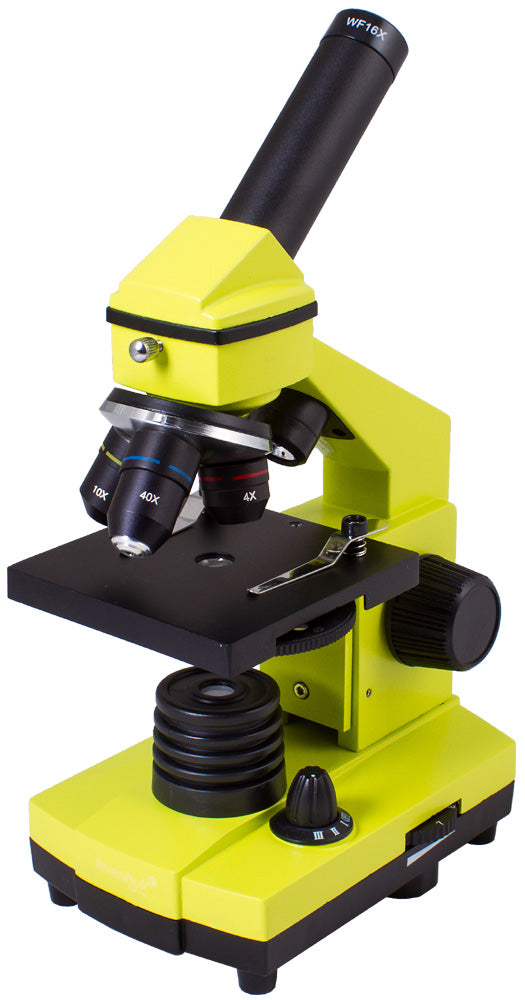 High-quality, reliable and stylish biological microscope with an experiment kit. Experiment kit included. Magnification: 64–640x.