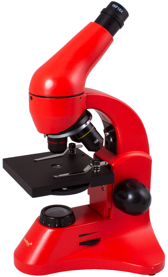Bright, modern and stylish microscope with an experiment kit. Magnification: 64–1280x.