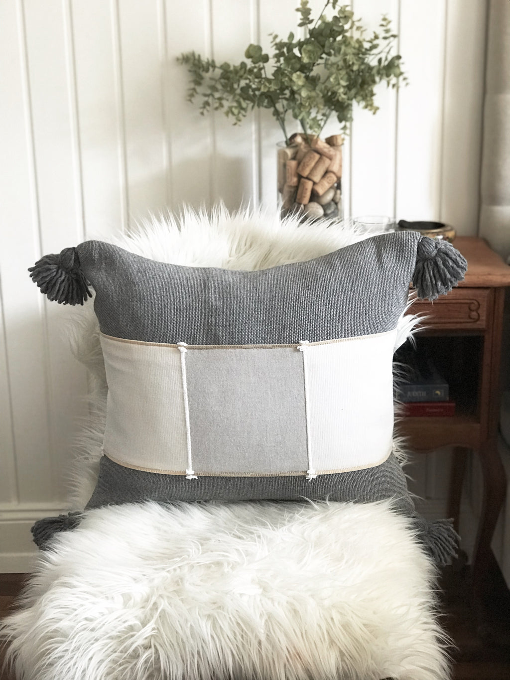 Custom Handwoven Pillow Cover w/ Pom Poms – GREY