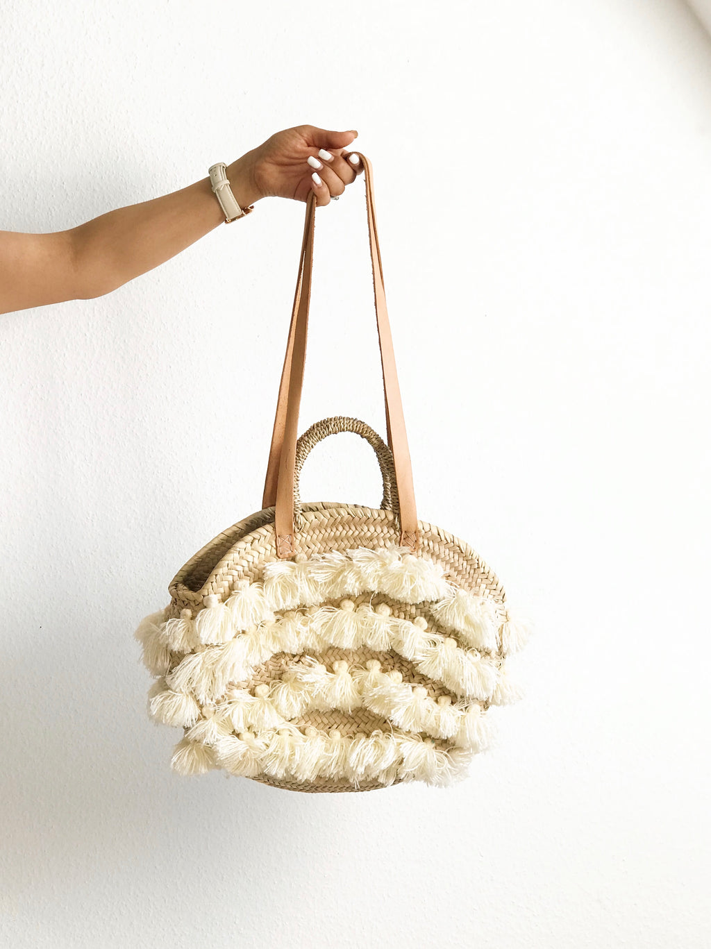 Handwoven Palm Shoulder+Hand Bag