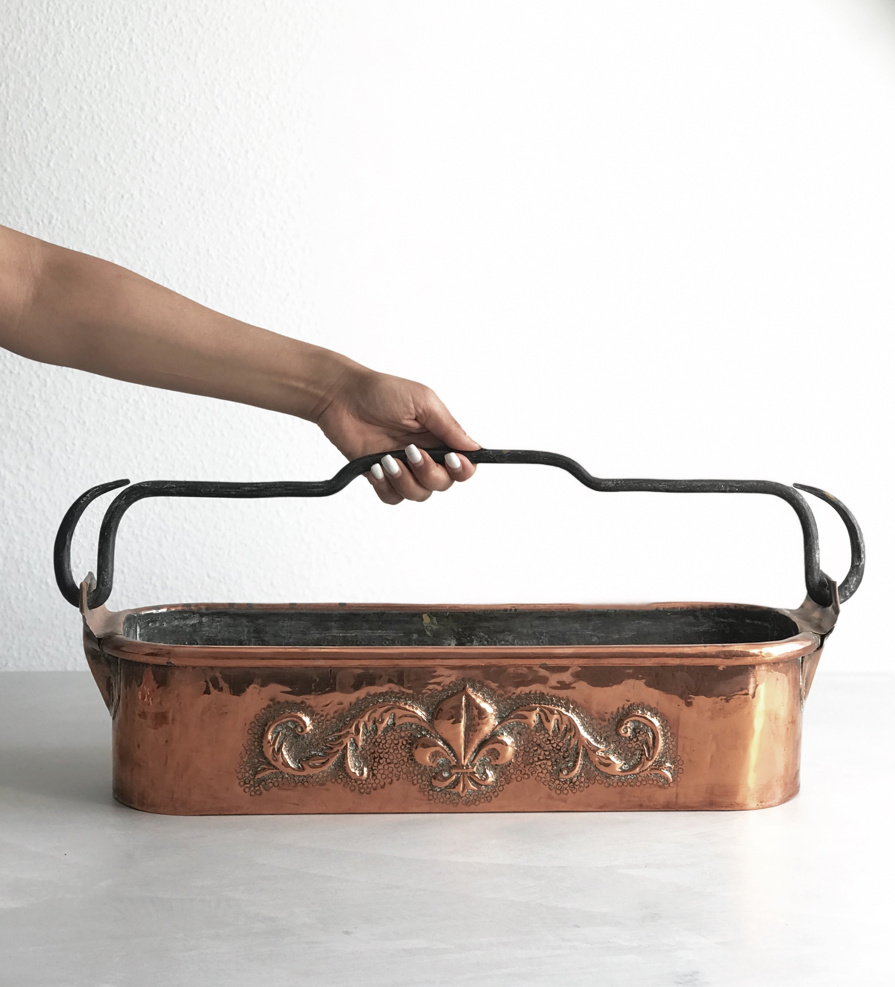 French 19th Century Copper Fish Poacher Pan Kettle/ Poissonnière