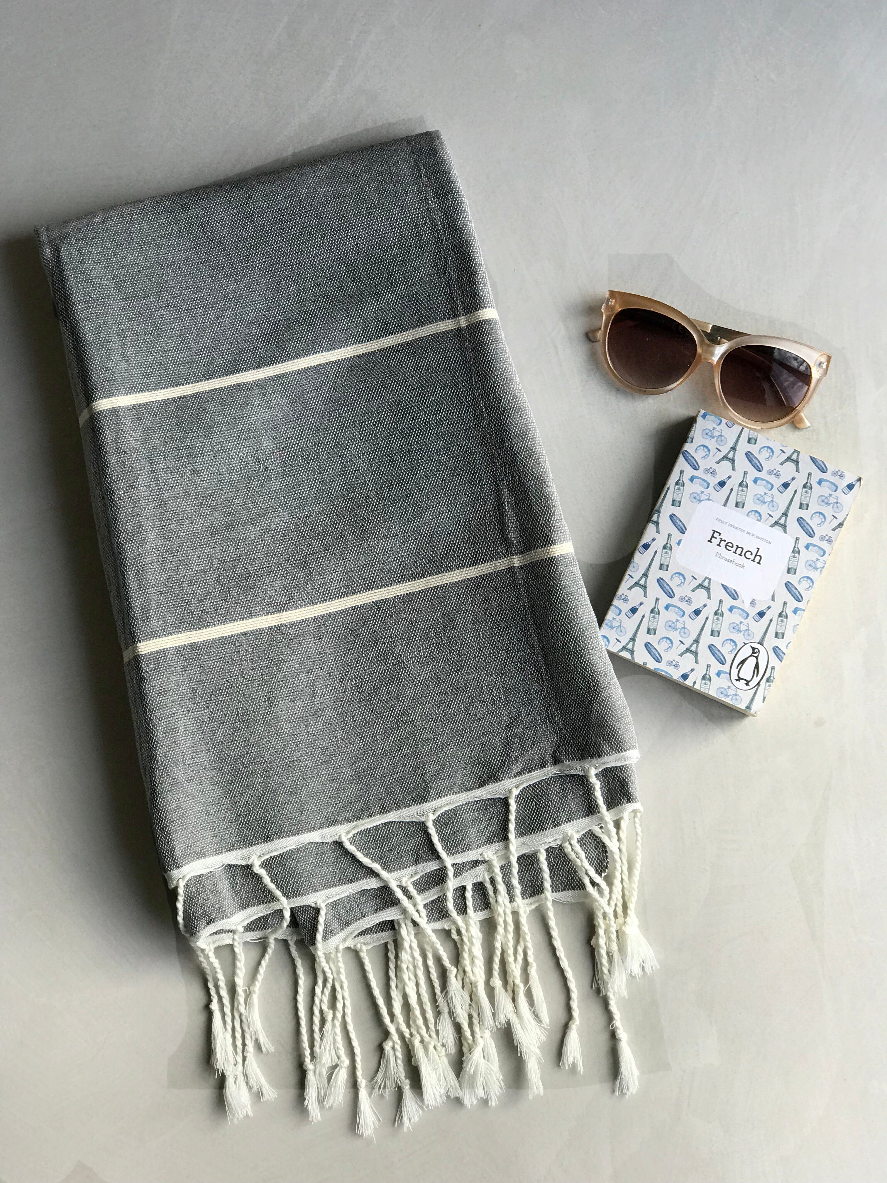 Hammam Towel - GREY w/ Natural Stripes